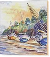 Sunset Sail On Brittany Beach  Wood Print
