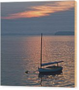 Sunset Sailboat Wood Print