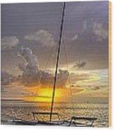 Sunset Sailboat Vertical Wood Print