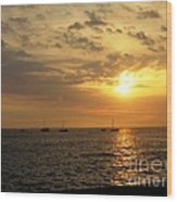 Sunset Sailing Wood Print
