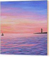 Sailing Toward The Lighthouse Wood Print