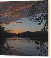 Sunset Scene At The River Wood Print