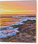 Sunset Shore Break Wood Print