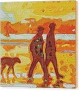 Sunset Silhouette Carmel Beach With Dog Wood Print