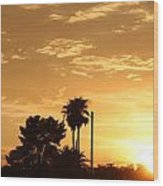 Sunset Sillouette Wood Print