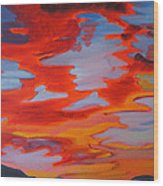 Ruby Red Sunset Wood Print