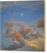 Sunset Sky With Gibbous Moon And Clouds Usa Wood Print