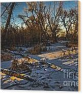 Sunset Snow Wood Print by Baywest Imaging