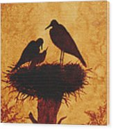 Sunset Stork Family Silhouettes Wood Print