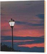 Sunset Streetlight Wood Print
