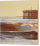 Sunset Surf Santa Cruz Wood Print by Paul Topp