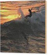 Sunset Surfers Wood Print