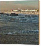 Sunset Surfer Wood Print