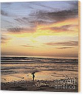 Sunset Surfer Wood Print