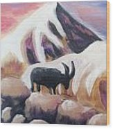 Sunset Swiss Goat Wood Print