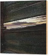 Sunset Throough The Fence Wood Print
