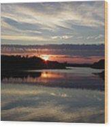Sunset Up The Sebec Wood Print