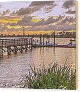Sunset View Boardwalk Wood Print