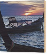 Sunset View From Sunset Beach On Ko Lipe Island In Thailand Wood Print