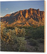 Sunset View Of The Superstitions  Wood Print