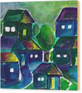 Sunset Village Watercolor Wood Print