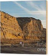 Sunset Walk At Flat Rock  La Jolla California Wood Print