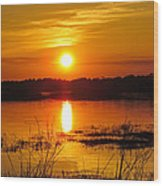 Sunset Walk In The Water Wood Print