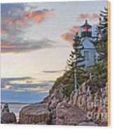 Sunset Watcher - Bass Harbor Head - Maine Wood Print