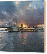 Sunset Waterway Panorama Wood Print