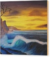 Sunset Wave Wood Print