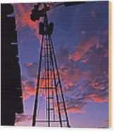 Sunset Windmill Wood Print