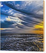 Sunset With Blue Sky Wood Print