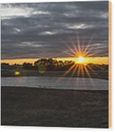 Sunset With Flair Wood Print
