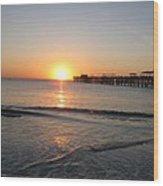 Fishingpier Sunset Wood Print