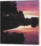 Sunset With Reflection Wood Print