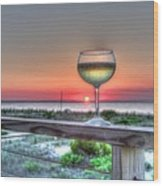 Sunset With Wine Glass Wood Print