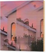 Sunsets On Houses Wood Print