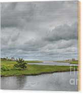 Sunshine And Heavy Clouds Over Dennisport Wood Print
