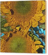 Sunshine And Turquoise  Wood Print