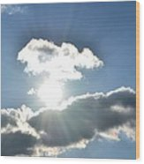 Sunshine Clouds Wood Print