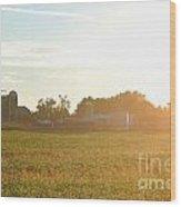 Sunshine Over The Farm Wood Print