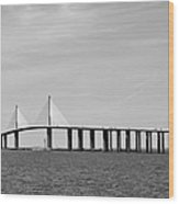 Sunshine Skyway Bridge Bw II Tampa Bay Florida Usa Wood Print