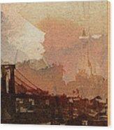 Sunsrise Over Brooklyn Bridge Wood Print