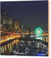 Super Bowl Eve In Seattle Wood Print