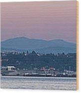 Super Moon And Sailing Panorama Wood Print