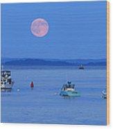 Super Moon Hangs Over Belfast Harbor Maine Wood Print