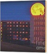 Super Moon In Halifax Nova Scotia Wood Print