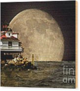 Super Moon Lighthouse Wood Print