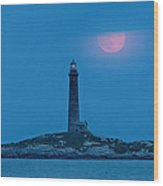 Super Moon Over Thacher Twin Lights Wood Print