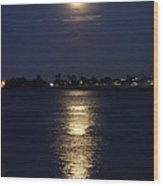 Super Moon Over The Mississippi River In New Orleans Wood Print by Louis Maistros
